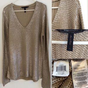 BCBGMaxAzria Sweaters - BCBGMaxAzria Hudson silver foil sweater